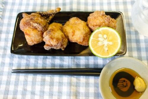 カボスと鶏のから揚げ