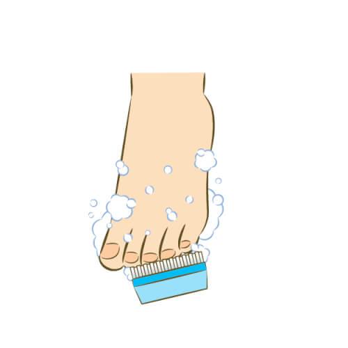 足の爪を洗う